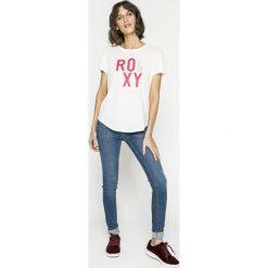 Roxy - Top. Szare topy damskie Roxy, l, z nadrukiem, z bawełny, z okrągłym kołnierzem. W wyprzedaży za 69,90 zł.