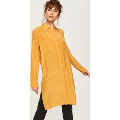 Długa koszula - Żółty. Żółte koszule damskie marki Mohito, l, z dzianiny. Za 119,99 zł.