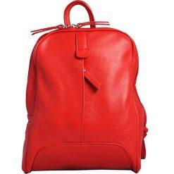 Plecaki damskie: Skórzany plecak w kolorze czerwonym – 25 x 32 x 10 cm