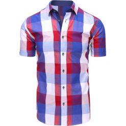 Koszule męskie na spinki: Biało-niebieska koszula męska w kratę (kx0849)