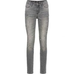 """Dżinsy SKINNY ze zdobieniami bonprix jasnoszary denim """"used"""". Szare jeansy damskie bonprix, z denimu. Za 149,99 zł."""