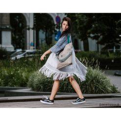 Duża szara zamszowa torba turkusowe miętowe pask. Niebieskie torebki klasyczne damskie marki Pakamera, z zamszu, duże, zamszowe. Za 189,00 zł.
