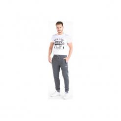 Spodnie męskie dresowe z kieszeniami, klasyczne, ze ściągaczami. Szare spodnie dresowe męskie TXM, z dresówki. Za 39,99 zł.