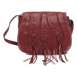 Skórzana torebka w kolorze bordowym - (S)28 x (W)23 x (G)10 cm. Brązowe torebki klasyczne damskie Tosca Blu, w paski, z materiału. W wyprzedaży za 369,95 zł.