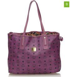 Torebki klasyczne damskie: Skórzana torebka w kolorze fioletowym – 44,5 x 27 x 18 cm