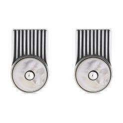 Unikalne Srebrne Kolczyki - srebro 925, Masa perłowa. Białe kolczyki damskie W.KRUK, z onyksem, srebrne. Za 229,00 zł.