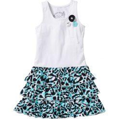Sukienki dziewczęce: Sukienka z falbanami bonprix biało-czarny z nadrukiem