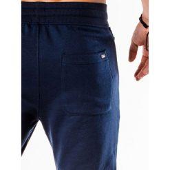 SPODNIE MĘSKIE DRESOWE P549 - GRANATOWE. Niebieskie joggery męskie Ombre Clothing, z bawełny. Za 49,00 zł.