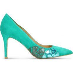 Czółenka SAVONA. Zielone buty ślubne damskie Gino Rossi, ze skóry, na wysokim obcasie, na szpilce. Za 199,90 zł.