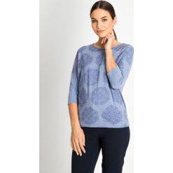 Bluzki damskie: Niebieska bluzka z rękawem 3/4 QUIOSQUE