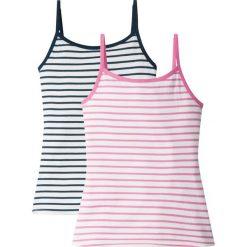 Bluzki dziewczęce na lato: Top (2 szt.) bonprix biało-ciemnoniebiesko-różowy w paski