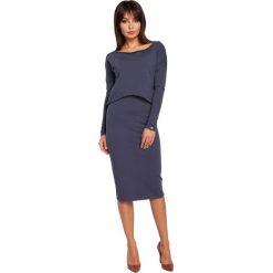 Odzież damska: Sukienka ołówkowa z nakładaną bluzą - niebieska