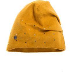 Czapki zimowe damskie: Musztardowa czapka z ozdobami QUIOSQUE