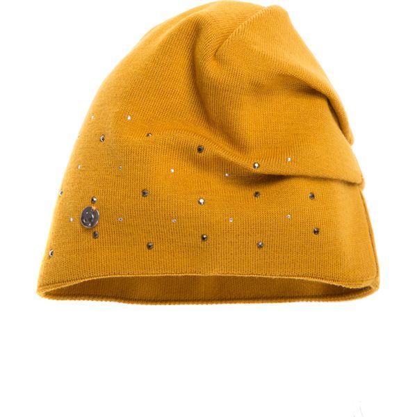 Musztardowa czapka z ozdobami QUIOSQUE. Niebieskie czapki zimowe damskie marki Name it, z haftami, z bawełny. W wyprzedaży za 39,99 zł.