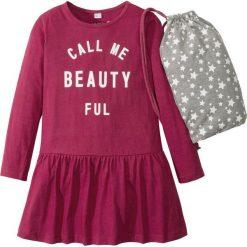 Sukienki dziewczęce: Sukienka z nadrukiem + worek sportowy (2 części) bonprix jeżynowy czerwony z nadrukiem