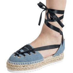 Refresh Schnür-Sandale Sandały jeans. Szare rzymianki damskie Refresh, z jeansu. Za 74,90 zł.