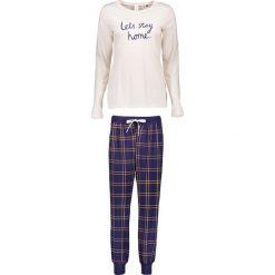 Piżamy damskie: Piżama w kolorze granatowo-beżowym
