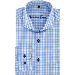 Koszula IGNAZIO slim 15-11-12. Niebieskie koszule męskie na spinki marki Giacomo Conti, m, w kratkę, z bawełny, z włoskim kołnierzykiem. Za 169,00 zł.