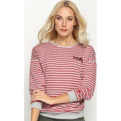 Bluzy damskie: Szaro-Czerwona Bluza Merry Heart