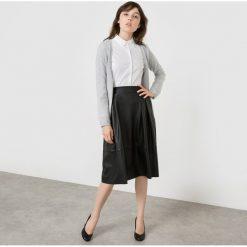 Długi rozpinany sweter z kaszmiru. Szare kardigany damskie La Redoute Collections, z bawełny. Za 333,90 zł.