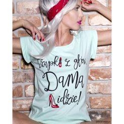 Koszulka Czapki z głów , dama idzie. Niebieskie bluzki z odkrytymi ramionami marki Pakamera, z bawełny. Za 79,00 zł.