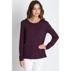 Bluzki asymetryczne: Śliwkowa bluzka z długim rękawem BIALCON