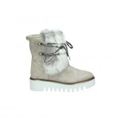 Śniegowce Dziecko Alpe  3604. Białe kozaki dziewczęce marki Born2be, z materiału, na sznurówki. Za 593,41 zł.