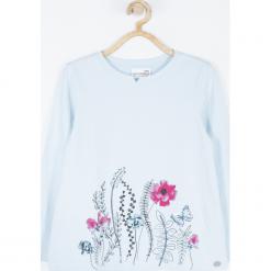 Koszulka. Niebieskie bluzki dziewczęce bawełniane marki bonprix, z długim rękawem, długie. Za 55,90 zł.