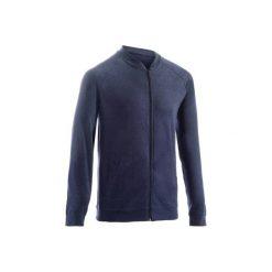 Bluza na zamek Gym & Pilates 100 męska. Niebieskie bluzy męskie rozpinane marki QUECHUA, m, z elastanu. Za 39,99 zł.