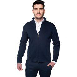 Kardigany męskie: sweter merle stójka granatowy