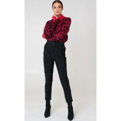 Spodnie z wysokim stanem: Trendyol Spodnie z paskiem w talii – Black