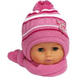 Czapka niemowlęca z szalikiem CZ+S 154D. Różowe czapeczki niemowlęce Proman. Za 38,76 zł.