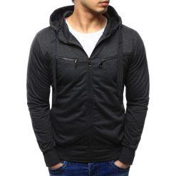 Bluzy męskie: Bluza męska rozpinana z kapturem grafitowa (bx2256)