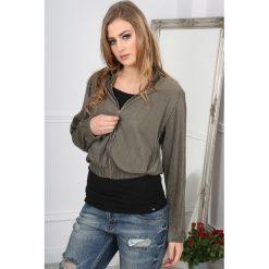 Bluzy damskie: Khaki Bluza Karbowana BB20710