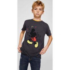 Mango Kids - T-shirt dziecięcy Mickey Mouse 116-164 cm. Szare t-shirty chłopięce z nadrukiem Mango Kids, z bawełny, z okrągłym kołnierzem. Za 59,90 zł.
