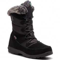 Śniegowce KAMIK - Polarfox WK2155 Black. Czarne buty zimowe damskie Kamik, z materiału, na niskim obcasie. W wyprzedaży za 299,00 zł.