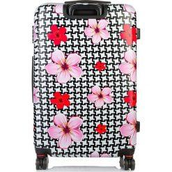 ŚREDNIA WALIZKA PODRÓŻNA W KWIATY I PEPITKĘ. Szare walizki marki producent niezdefiniowany, w kwiaty, średnie. Za 329,00 zł.