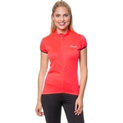 """T-shirty damskie: Koszulka kolarska """"Decorum"""" w kolorze jaskraworóżowo-białym"""
