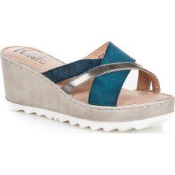 Buty ślubne damskie: Klapki na koturnie KYLIE niebieskie