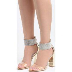 Złote Sandały The Best Secret. Żółte sandały damskie na słupku Born2be, z lakierowanej skóry, na wysokim obcasie. Za 89,99 zł.