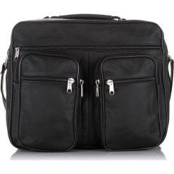 Torby na ramię męskie: Czarna skórzana męska torba Praktyczna do pracy