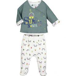Spodnie niemowlęce: 2-częściowy zestaw w kolorze szarozielono-białym ze wzorem