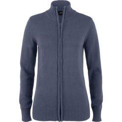Sweter rozpinany bonprix jagodowy. Fioletowe golfy damskie marki DOMYOS, l, z bawełny. Za 74,99 zł.
