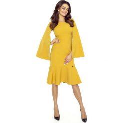 Sukienki: Miodowa Sukienka Wizytowa z Falbanką