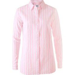 Bluzki damskie: Bluzka z materiału z lnem bonprix pudrowy jasnoróżowy - biały w paski