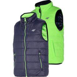 Bezrękawnik puchowy dla dużych chłopców JKUMB200 - soczysta zieleń neon. Zielone kurtki dziewczęce przeciwdeszczowe marki 4F JUNIOR, moro, z materiału. Za 79,99 zł.
