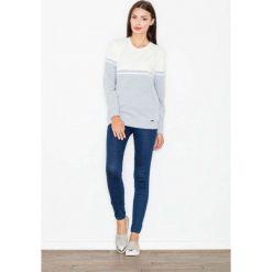 Bluzy rozpinane damskie: Szara Bluza Długa Dwubarwna