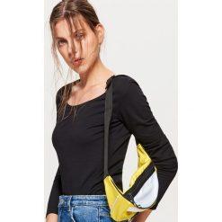 Bluzki, topy, tuniki: Gładka koszulka z długimi rękawami - Czarny