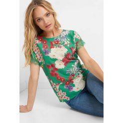 T-shirty damskie: Koszulka bimaterial w kwiaty