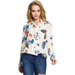 MARIA Bluzka w motyle z długimi rękawami - ecru. Szare bluzki longsleeves Moe, w kolorowe wzory. Za 159,90 zł.